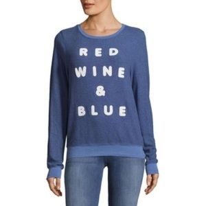 Wildfox red wine and blue sweater